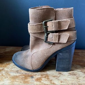 Shoemint Emma Camel Suede Leather Booties